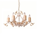 Metal Candle Shape Hanging Light Living Room Foyer 6 Lights Rustic Style Chandelier in White