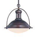 Domed Pendant Light with White Glass Shade and Hanging Rod One Light Vintage Ceiling Light in Antique Bronze