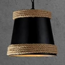 Black/White Bucket Pendant Light with Rope and Hanging Chain Single Light Rustic Hanging Lamp