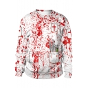 Horror Blood Printed Cosplay Costume Round Neck White Pullover Sweatshirt