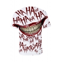 Stylish Joker Clown Mouth Letter HA Graffiti Print White T-Shirt
