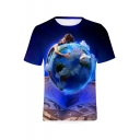 New Stylish Blue Figure Earth Printed Short Sleeve Round Neck Casual T-Shirt