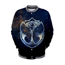 Tomorrowland Blue Galaxy Printed Rib Stand Collar Button Down Unisex Baseball Jacket