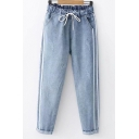 Simple Fashion Stripe Side Drawstring Waist Rolled Cuff Blue Loose Fit Jeans