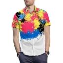 Mens Street Cool Tie Dye Ink Printed Short Sleeve Button Shirt