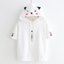 Lovely Cartoon Bear Printed Short Sleeve Hooded Girls T-Shirt
