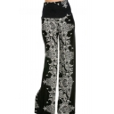 Womens Hot Fashion High Rise Vintage Tribal Printed Black Palazzo Pants