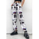 Cool Illustration Printed Womens Street Style White Track Pants