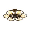 6 Lights Flower Shape Semi Flush Light Industrial Metal Ceiling Light in Black for Living Room