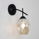 Hallway Foyer Curved Wall Light Single Light Metal and Open Glass Sconce Light in Black