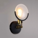 Industrial Circle Wall Light Metal and Glass Single Light Black Sconce Light for Bedroom Kitchen