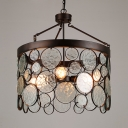 Metal and Glass Drum Chandelier 4 Lights Vintage Style Hanging Lamp for Dining Room Restaurant