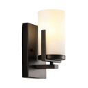 Cylinder Shade Dining Room Wall Sconce Metal and Frosted Glass 1 Light Simple Style Sconce Light in White