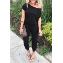 Women's Summer Trendy One Shoulder Short Sleeve Solid Color Jumpsuits