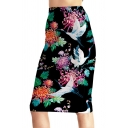 New Fashion Floral Crane Printed Womens Chic Black Midi Pencil Skirt
