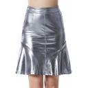 Women's Sexy Night Club Metallic Silver Mini A-Line PU Skirt