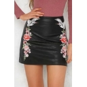 Women's Chic Floral Embroidery High Rise Black Mini PU Skirt