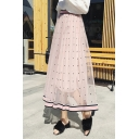 Summer Unique Fancy Polka Dot High Rise Stripe Hem Maxi A-Line Gauze Skirt