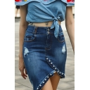 Chic Beading Embellished Ripped Detail Dark Blue Mini Bodycon Asymmetrical Denim Skirt