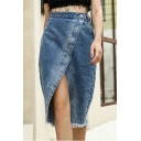 Fashion Blue High Rise Slit Front Frayed Hem Midi Asymmetrical Denim Skirt
