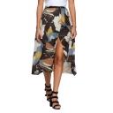 Summer Vintage Floral Pattern Split Front Chiffon Midi Flowy Skirt