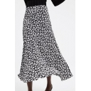 Vintage Black and White Floral Printed High Waist Long Flowy Skirt