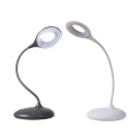 Eye-Caring White/Brown Desk Lighting Touch Switch Round Shape LED Desk Lamp with USB Charging Port