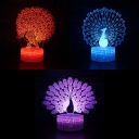 7 Color Peacock 3D Nigh Light Touch Sensor Remote Control LED Nursery Nightlight for Child