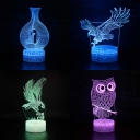 4 Animal Pattern 3D Nursery Nightlight 7 Color Changeable USB Battery Illusion Light with Touch Sensor and Battery and USB Port