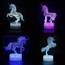 7 Color Changing 3D Illusion Night Lamp Touch Sensor Remote Control Unicorn Night Light for Child Gift