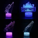 7 Color Changing 3D Night Light with Touch Sensor Gun/Alphabet Pattern Design LED Illusion Light for Boy Girl Gift