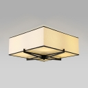 4 Lights Square Flush Mount Light Classic Fabric Light Fixture in Beige for Living Room Bedroom