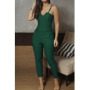 Womens Summer Hot Fashion Solid Color V-Neck Spaghetti Strap Slim Fit Jumpsuits