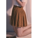 Girls Basic Solid Color Elastic Waist High Rise Khaki Mini Pleated Skirt