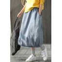 New Fashion Elastic Waist Solid Color Loose Casual Long Balloon Bubble Denim Skirt