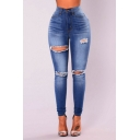 Women's New Trendy High Waist Skinny Fit Distressed Ripped Blue Jeans