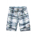 Guys Summer Fashion Plaid Printed Casual Loose Beach Swim Trunks