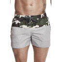 New Fashion Unique Camo Patched Drawstring Waist Quick Dry Mens Swim Shorts with Liner