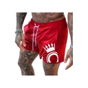 Unique Crown Printed Guys Drawstring Waist Quick Dry Running Swim Shorts