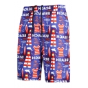Summer Cool Letter Lighthouse Graffiti Mens Purple Fast Drying Beach Swim Trunks