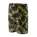 Mens Summer Short Black Coconut Tree Swim Shorts Beachwear with Liner and Pockets