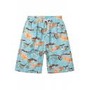 Men's Light Blue Cute Funny Tropical Print Quick Dry Swim Trunks With Drawcord