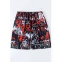 Summer Unique Comic Graffiti Print Drawstring Waist Black Swim Trunks for Men