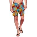 Cool Drawstring Men's Red Tropical Leaf Print Swim Shorts Trunks with Mesh Lining
