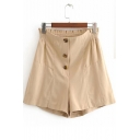 Womens Fashion Solid Color Button Fly High Rise Elastic Waist Casual Khaki Shorts