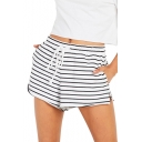 Women's Summer Stylish White Striped Print Drawcord Waist Slit Side Lounge Shorts