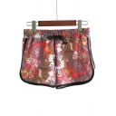 Summer Fashion Floral Printed Drawstring Waist Beach Shorts Dolphin Shorts