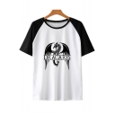 Popular Dragon Dracarys Colorblock Short Sleeve Round Neck Relaxed T-Shirt