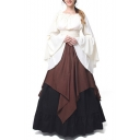 Women's Medieval Retro Renaissance Costumes Irish Trumpet Sleeve Round Neck Peasant Long Gown Dress