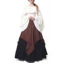 Women's Medieval Retro Renaissance Costumes Irish Trumpet Sleeve Round Neck Peasant Long Gown Dress